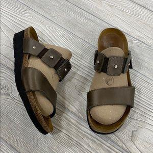 Naot Brown Leather Ashley Rhinestone Sandals - 37